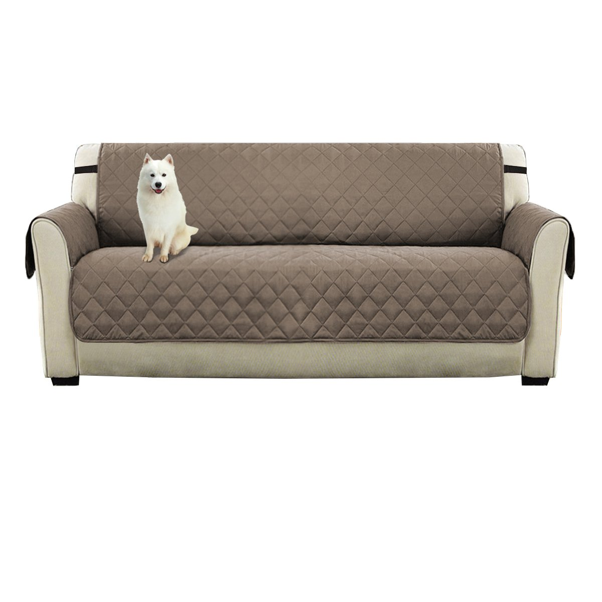 WATTA Anti-Slip Chair 1 Seater Sofa Reversible Slipcovers Beige Fabric for Pet Dog Couch Covers Protectors