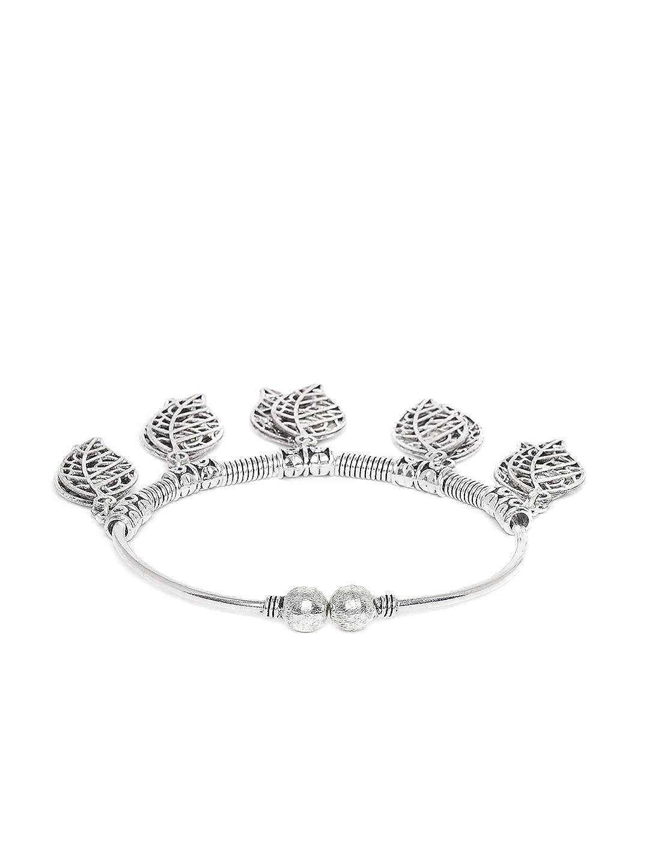 zerokaata/Fashion Jewellery Oxidized Silver Leaf Charm Bracelet for Women /& Girls