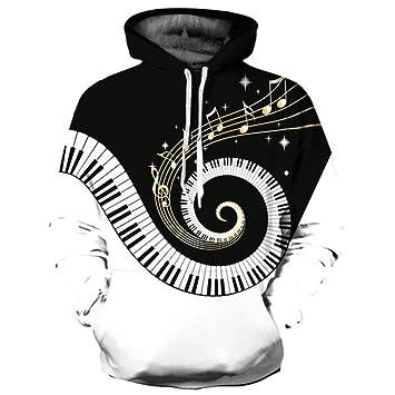 ZQWY Marca Sudaderas Hombre/Mujer Thin 3D Sudaderas Imprimir Piano Curvo Notas Musicales Sudaderas con Capucha: Amazon.es: Deportes y aire libre