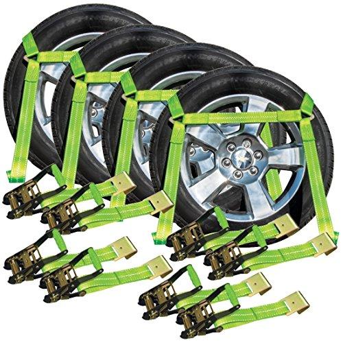 Vulcan Hi-Viz Side Rail Auto Tie Down w/Flat Hooks - 3300 lbs. SWL, 4 Pack