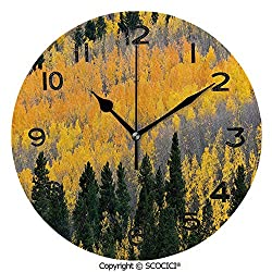 SCOCICI Frameless Clock 3D DIY Decorative Clock Colorful Aspen Forest in Colorado Mountains Western Wilderness USA Theme 10 Inch Large Size Round Wall Clock for Living Room Bedroom Office Hotel
