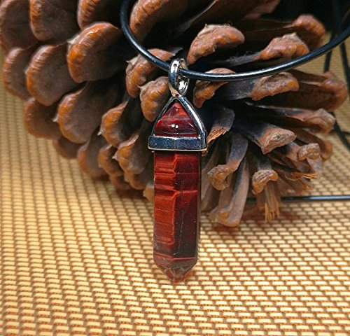 1 Pcs 1.6'' Carved Lucky Hexagonal Chakra Pendant ,DIY Accessory for Necklace 40mm (Red tiger eye)