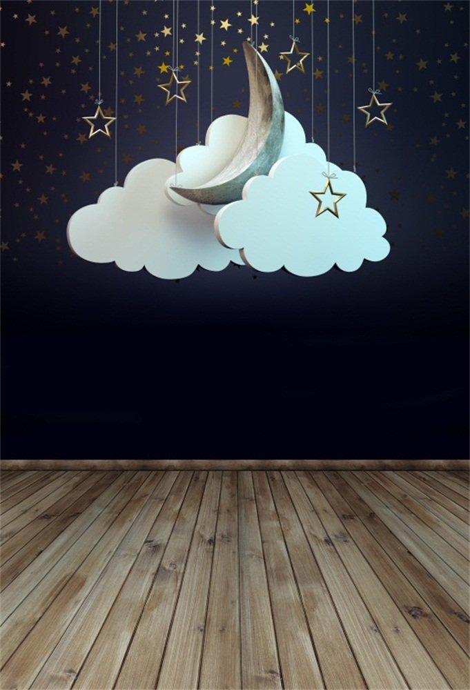LFEEY 5x7フィート ベビー グッドナイト 写真 背景 子供 漫画 木製 フロア 吊り下げ 星 雲 背景 壁紙 写真スタジオブース 小道具   B07DB7LZSC