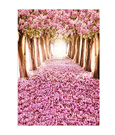 OMG_Shop 5x7ft Photography Backdrop Cherry Blossoms Street Studio Backdrop Photo Photography Background Beautiful Flower Sakura Road