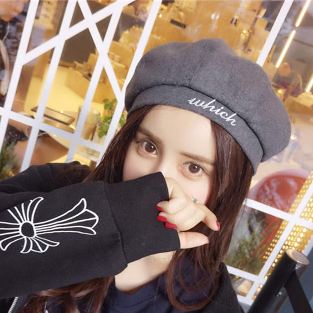 Naiflowers Womens Autumn Winter Warm Fashion Pumpkin Octagon Berets Dome Trend Letter Print Hat