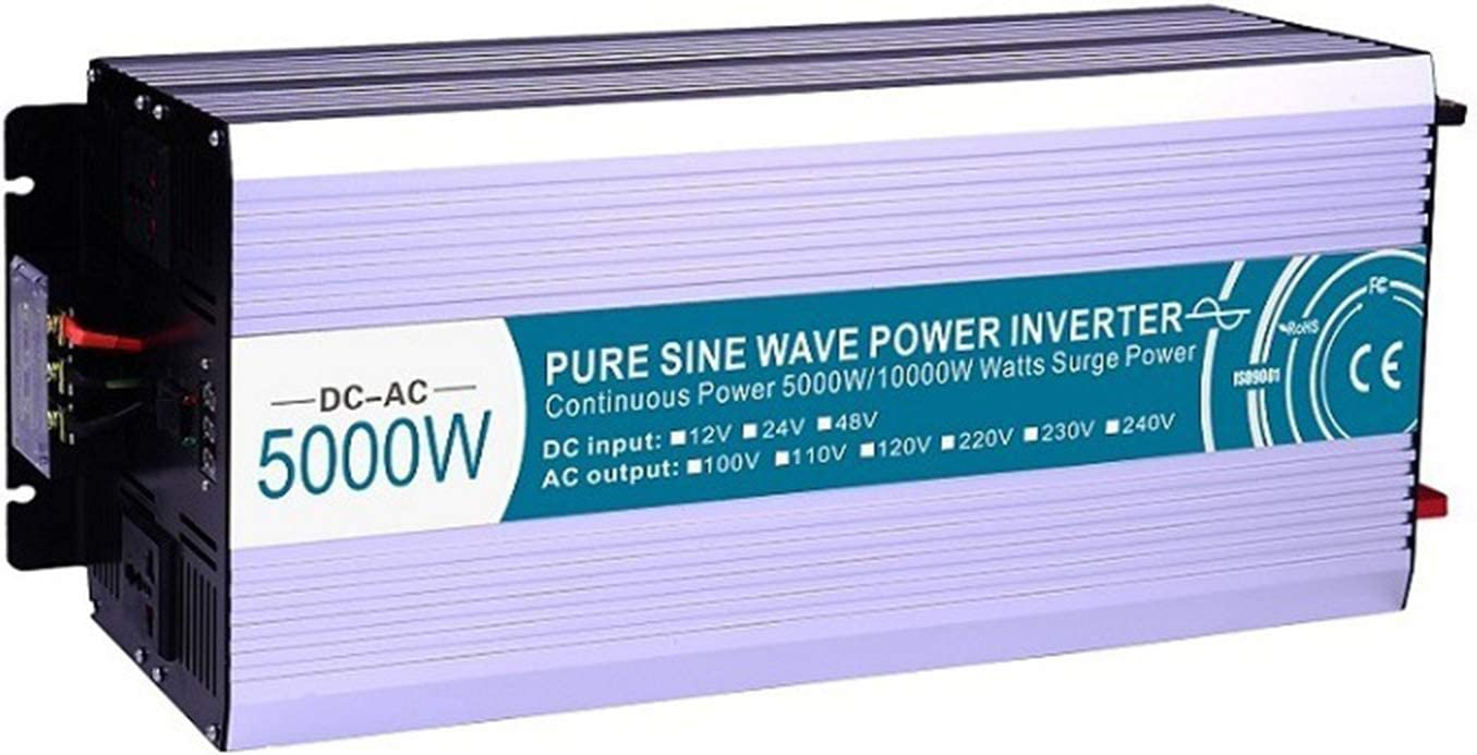 WMNRNYD 3000W 4000W 5000W 6000W Inversor de energía de Onda sinusoidal Pura DC 12V / 24V / 48V a AC 110V / 220V con Control Remoto para Viajes en casa RV Coche Sistema Solar,5000w,48V 220V