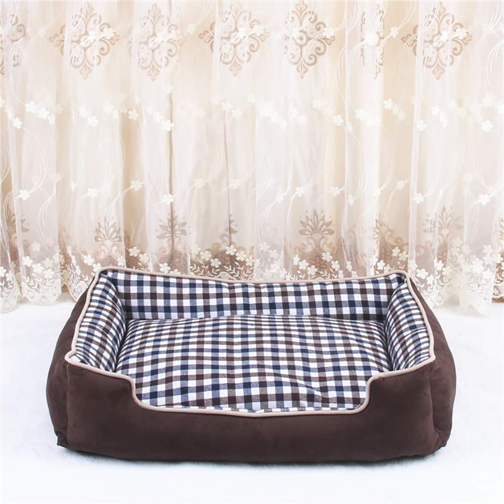 Pet Bed with Removable Cover and Water-Resistant Bottom Comfortable Ultra Soft Pet Sofa for Pets Sleeping, Jumbo Size 90x68cm Stuffed up to 6 Inches High,Brown,XXL