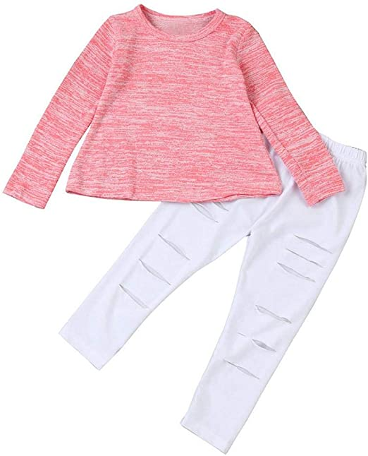 US Autumn Newborn Kids Baby Girl Clothes Sequins Pullover Top Pants Outfit 2 Pcs