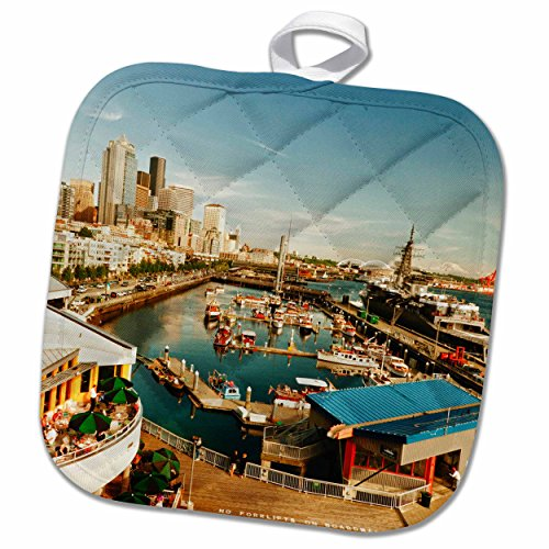 3dRose Danita Delimont - Seattle - USA, Washington, Seattle, Bell Street Pier - US48 RDU0473 - Richard Duval - 8x8 Potholder (phl_148496_1)