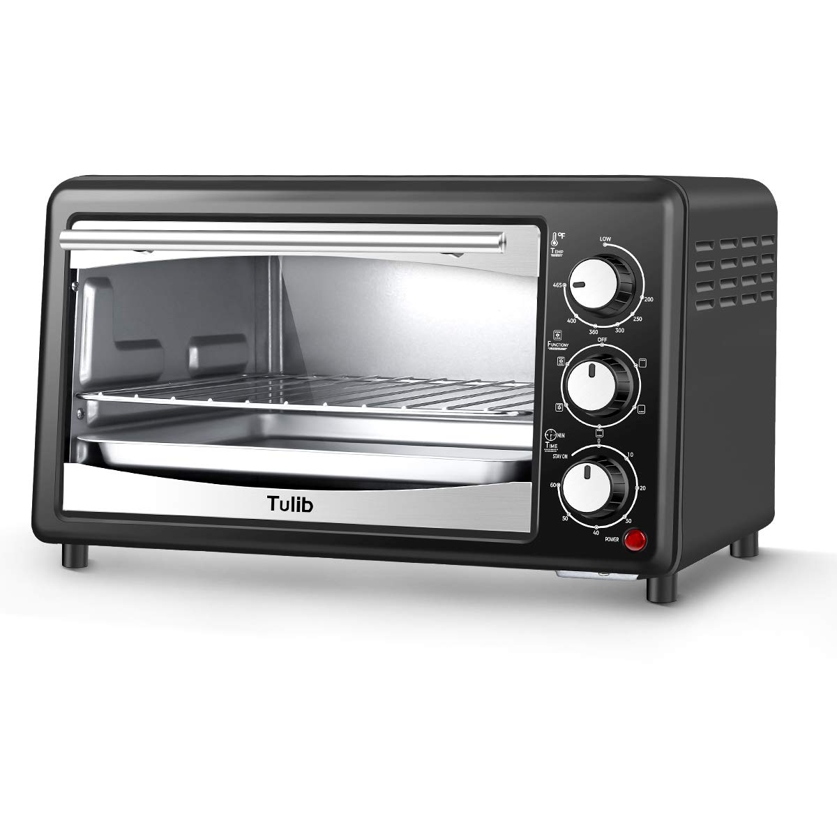 Tulib Convection Countertop Toaster Oven 1200W, Includes Bake Pan, Broil Rack, Stainless Steel