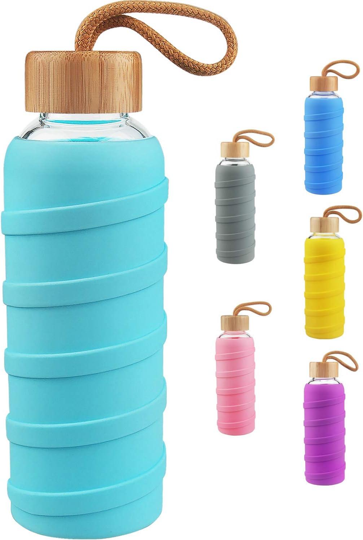 SHBRIFA Botella de Agua de Vidrio de Borosilicato Deportivo 480ml / 1000ml / 1 Litre, Botella de Agua de Cristal con Funda de Silicona y Tapa de Bambu a Prueba de Fugas