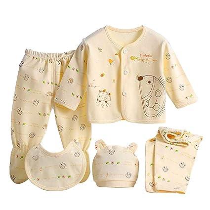 Per 5 piezas Conjuntos de ropa para bebé Canastilla de algodón Traje de bebé Regalo para Recién Nacido