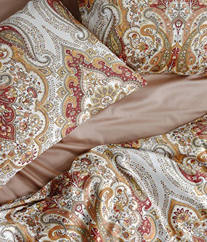 Tahari Home Duvet Quilt Cover Bohemian Style Moroccan Paisley Damask Medallion Print Cotton Sateen 3 Piece Bedding Set (Queen, Rust Copper) ()