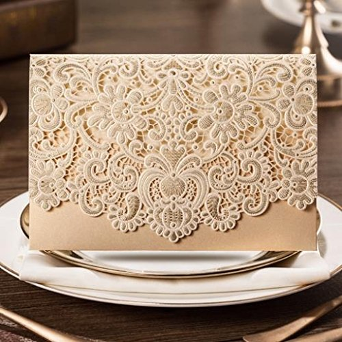 20 X Luxury laser cut embossed flower wedding invitation cards in Gold colour, FREE matching envelop, insert card and seal VStoy