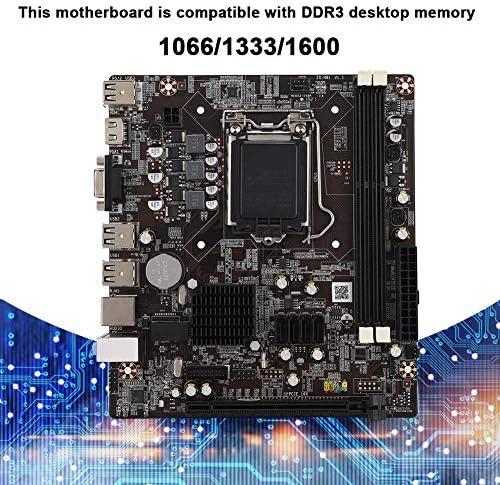 Diyeeni Scheda Madre per PC, H81 LAG1150 DDR3 VGA + Scheda Madre a Doppia Uscita HDMI, Scheda Madre Professionale con HDMI SATA 2.0 USB 2.0