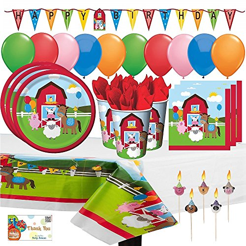Birthday Balloons Table Cover - FarmHouse Fun Party Supply Pack, 65 Piece Set Barnyard Animals Birthday Party Supply, with Plates, Napkins, Cups, Tablecover, Balloons, Banner, and Pick Candles, Serves 16