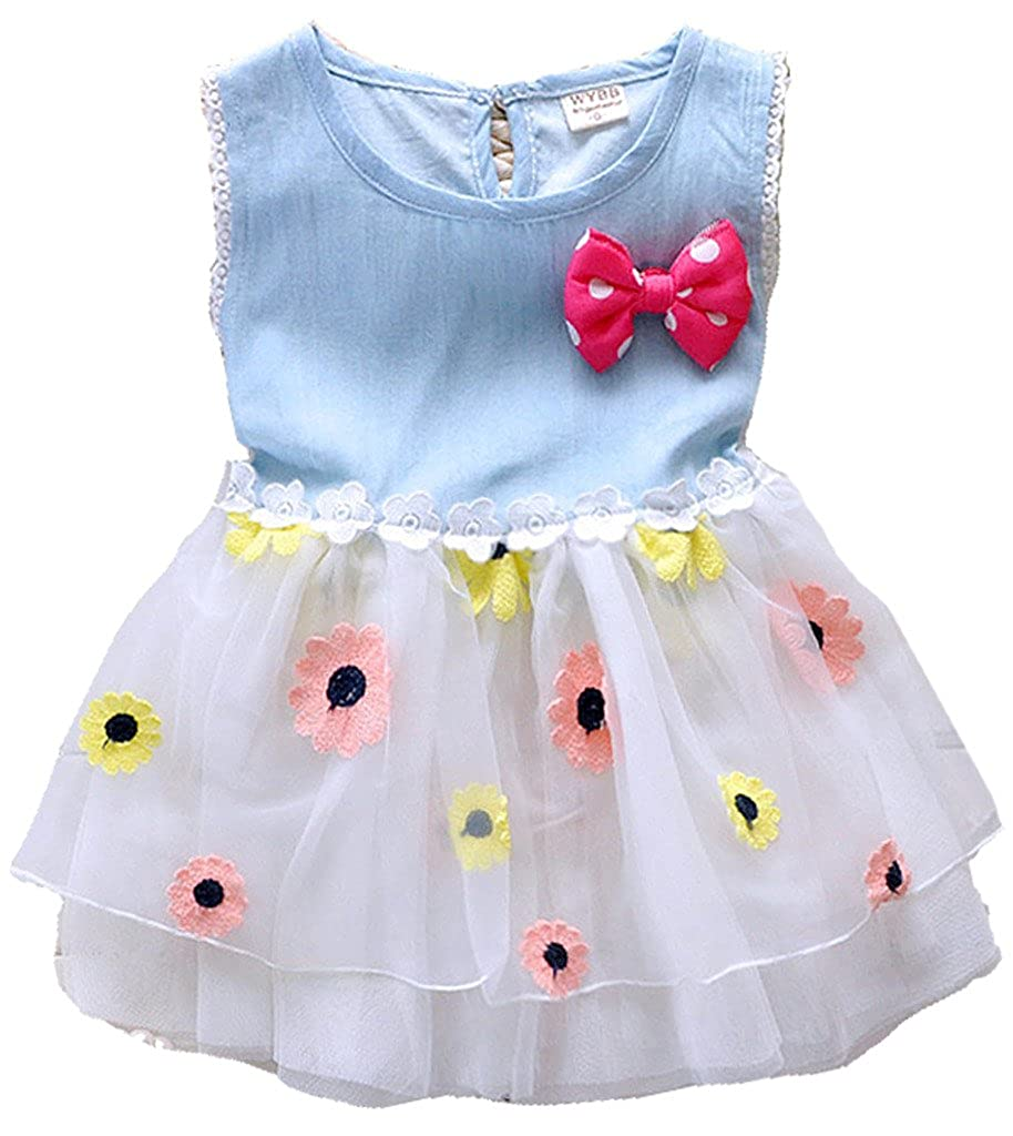 Kids Baby Girls Princess Flower Lace Ruffled Tulle Skirts Denim Dress