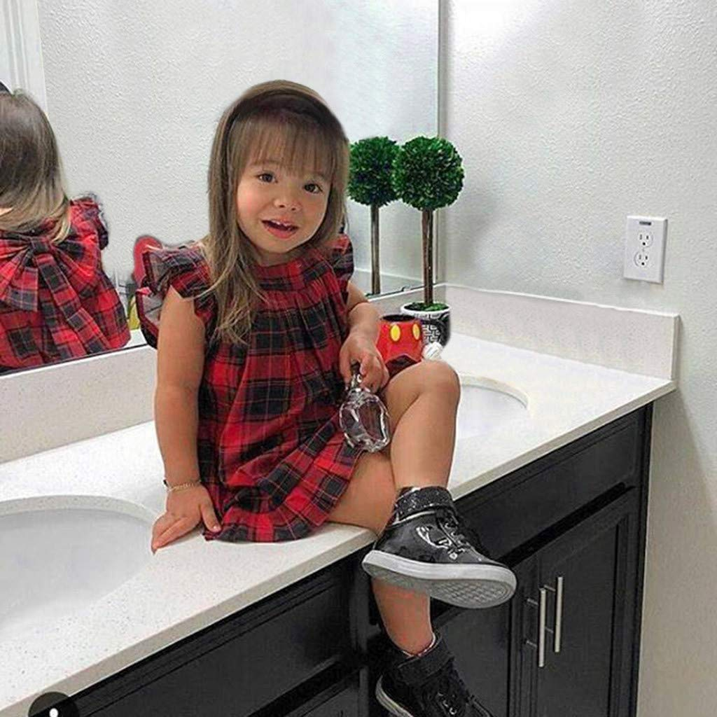 Summer Toddler Baby Girls Fly Sleeve Plaid Bow Dress Clothes Dresses
