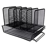 Easepres Metal Mesh Desk File Organizer with 5 Slot Step Sorter and 1 Tier Stackable Letter Trays