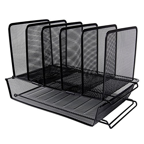 Easepres Metal Mesh Desk File Organizer with 5 Slot Step Sorter and 1 Tier Stackable Letter Trays - Corner Organizer Mesh Steel