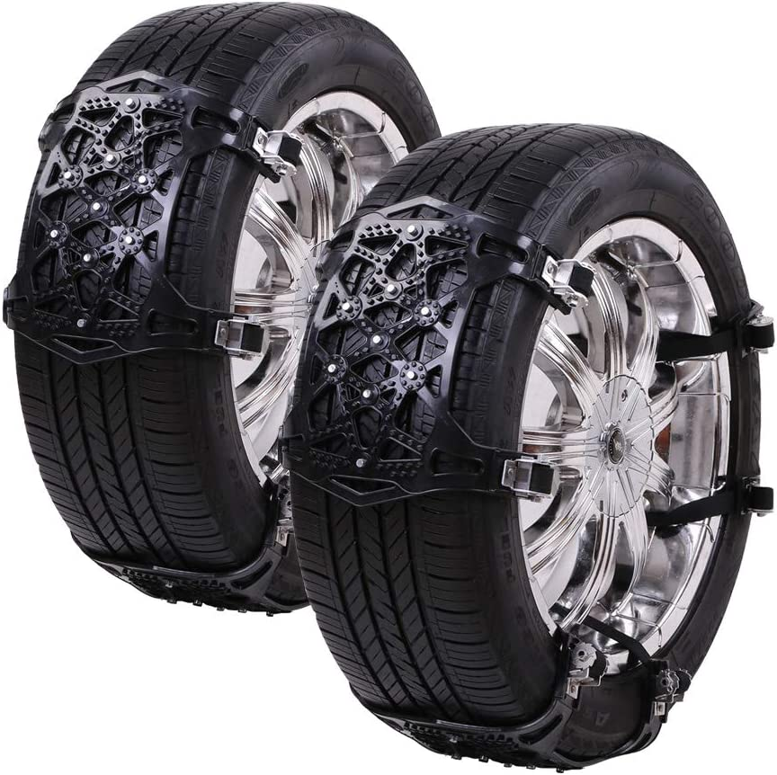 CROSOFMI Snow Chains for Tyres/ Universal Anti-Skid Chains Easy Installation for Car Tyre Width 165-285 mm 6PC Black