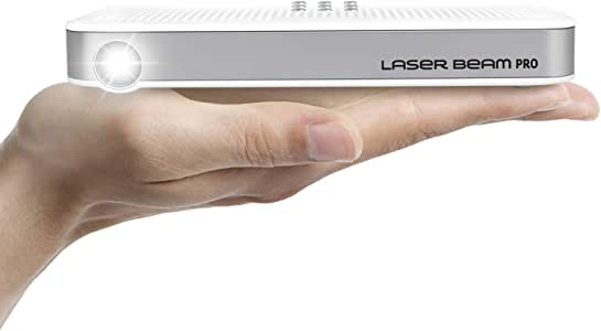 """Laser Beam Pro C200, FDA Assessed Class 1 Laser Projector, Focus Free 20-150"""", HD 768P Native Resolution, 120 Min Rechargeable Battery, Compatible w/ ..."""