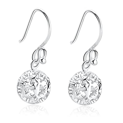 SILVERAGE 925 Sterling Silver Hollow Filigree Ball Drop Earring Round Dangle Earrings For Women yaIRCY