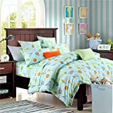 Brandream Blue Kids Bedding Set Animal World Bedding Sets For Boys Girls Soft 100% Cotton Duvet Quilt Cover Set Full Size