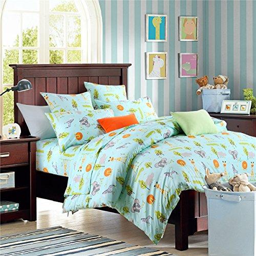 Brandream Blue Kids Bedding Set Animal World Bedding Sets For Boys Girls Soft 100% Cotton Duvet Quilt Cover Set Full Size by Brandream