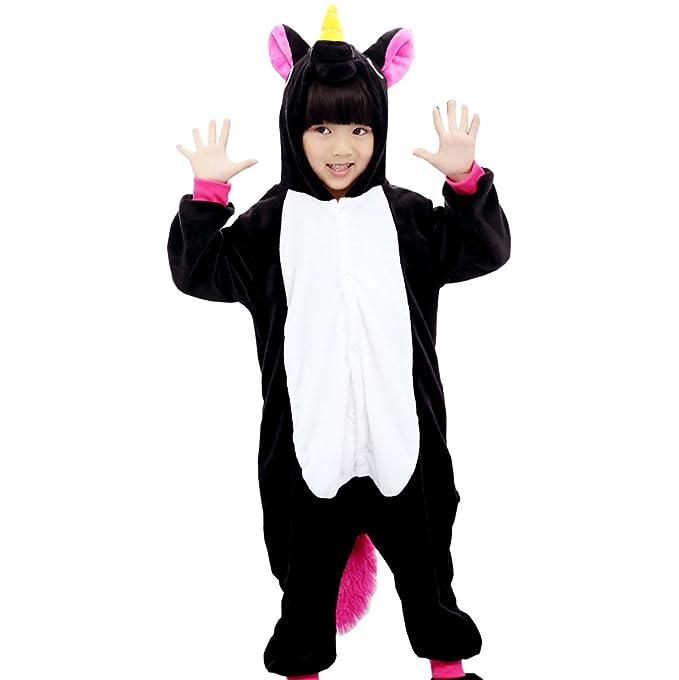 Triseaman Niños Dormir Traje Unicornio Pijama Víspera de Todos los Santos Cosplay Disfraz 10 Colores Negro