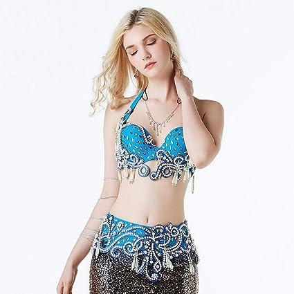 C&X Belly Dance Costume Color Diamante Sujetador Moldeado Traje De Ropa De Rendimiento De Danza Oriental