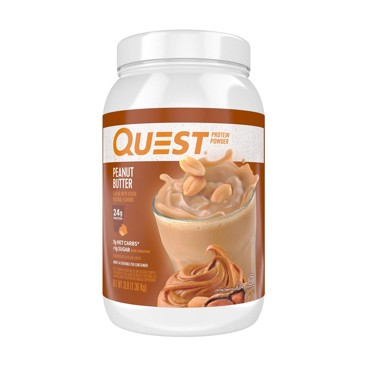 Quest Nutrition Peanut Butter Protein Powder, High Protein, Low Carb, Gluten Free, Soy Free, 3 Pound by Quest Nutrition