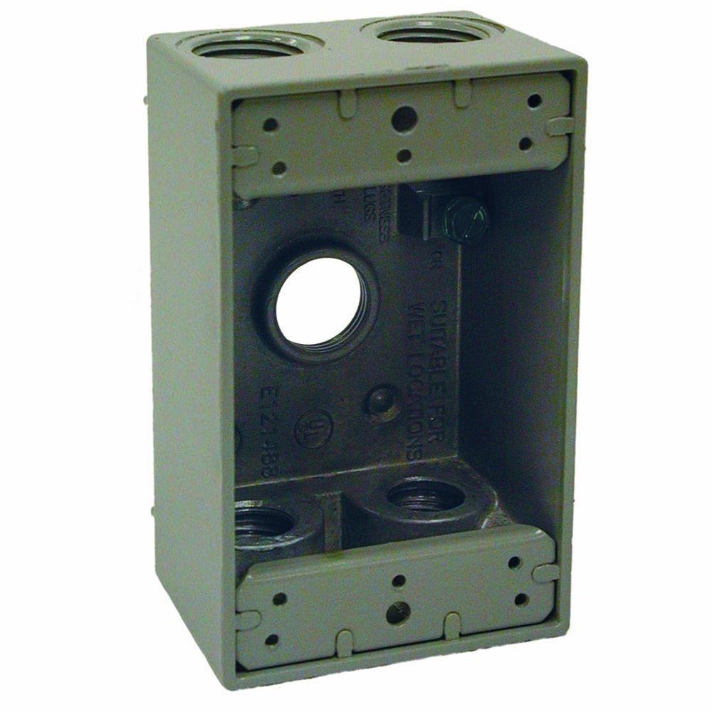 Hubbell Raco 5322 0 Weatherproof Box 1 Gang 18.3 Cu in X 4 1 2 in L X 2 3 4 in W X 2 in D 5 1 2 Inch