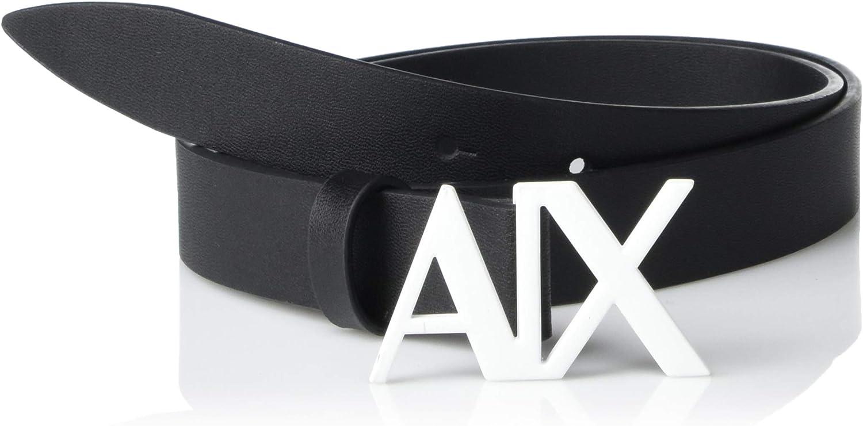 A|X Armani Exchange Cinturón de piel con hebilla con logotipo de Ax para mujer - Negro - XX-Large