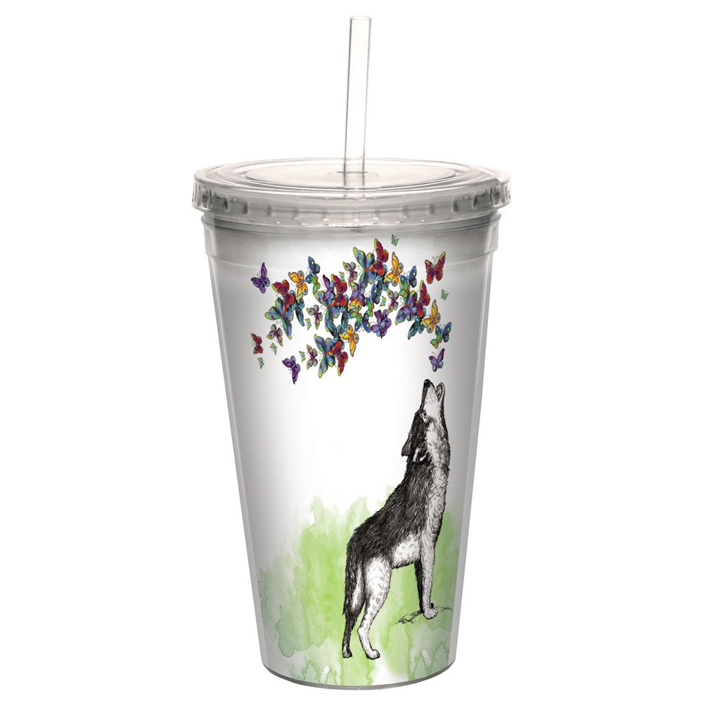 16 Ounce Tree-Free Greetings CC99097 Boho Wolf Double-Walled Acrylic Cool Cup with Reusable Straw