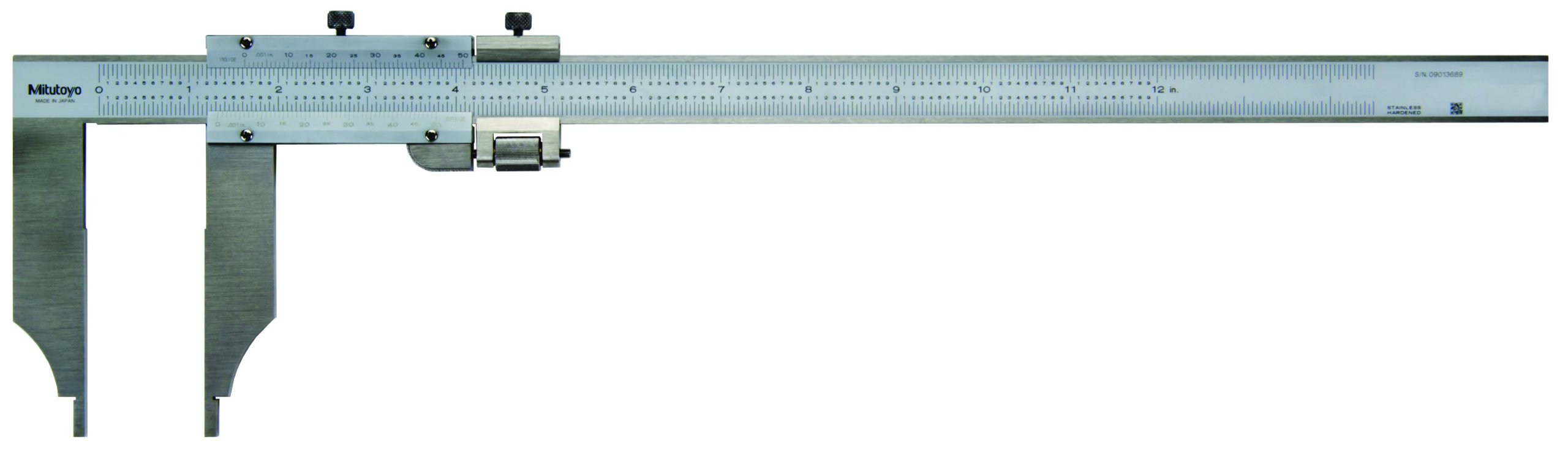 Mitutoyo 534-117 Vernier Caliper, Steel, Nib Style, Long Jaw, 0-12'' Range, +/-0.002'' Accuracy, 0.001'' Resolution