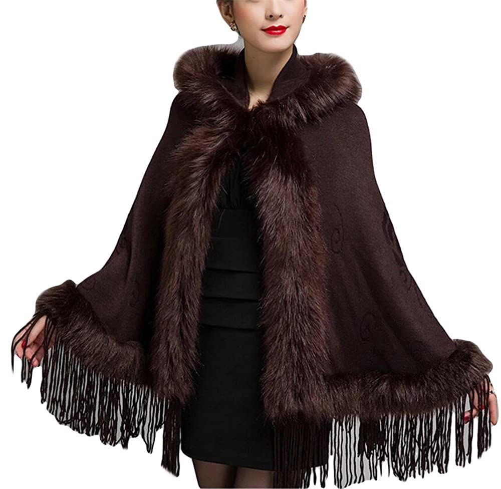 GURNALL Women Fox Fur Shawl Wrap Cardigan Coat Sweater Hooded Warm Poncho Capes 5 GURNALL5-Brown