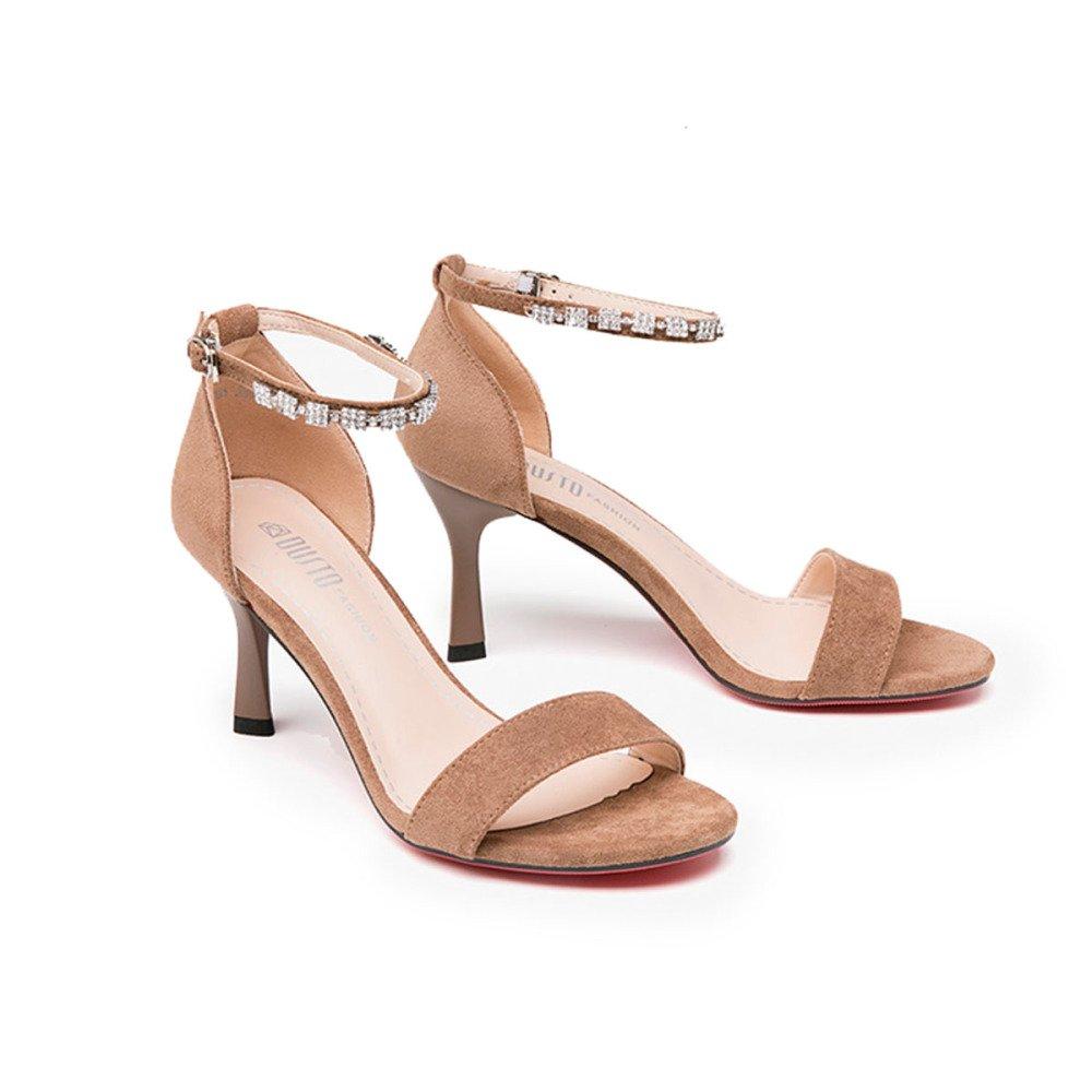GTYW Frauen Plattform Sandalen High Strass High Sandalen Heels Stilettos Metall Straps Strass Mode Sandalen High Heels,Braun-38 Braun 385c34