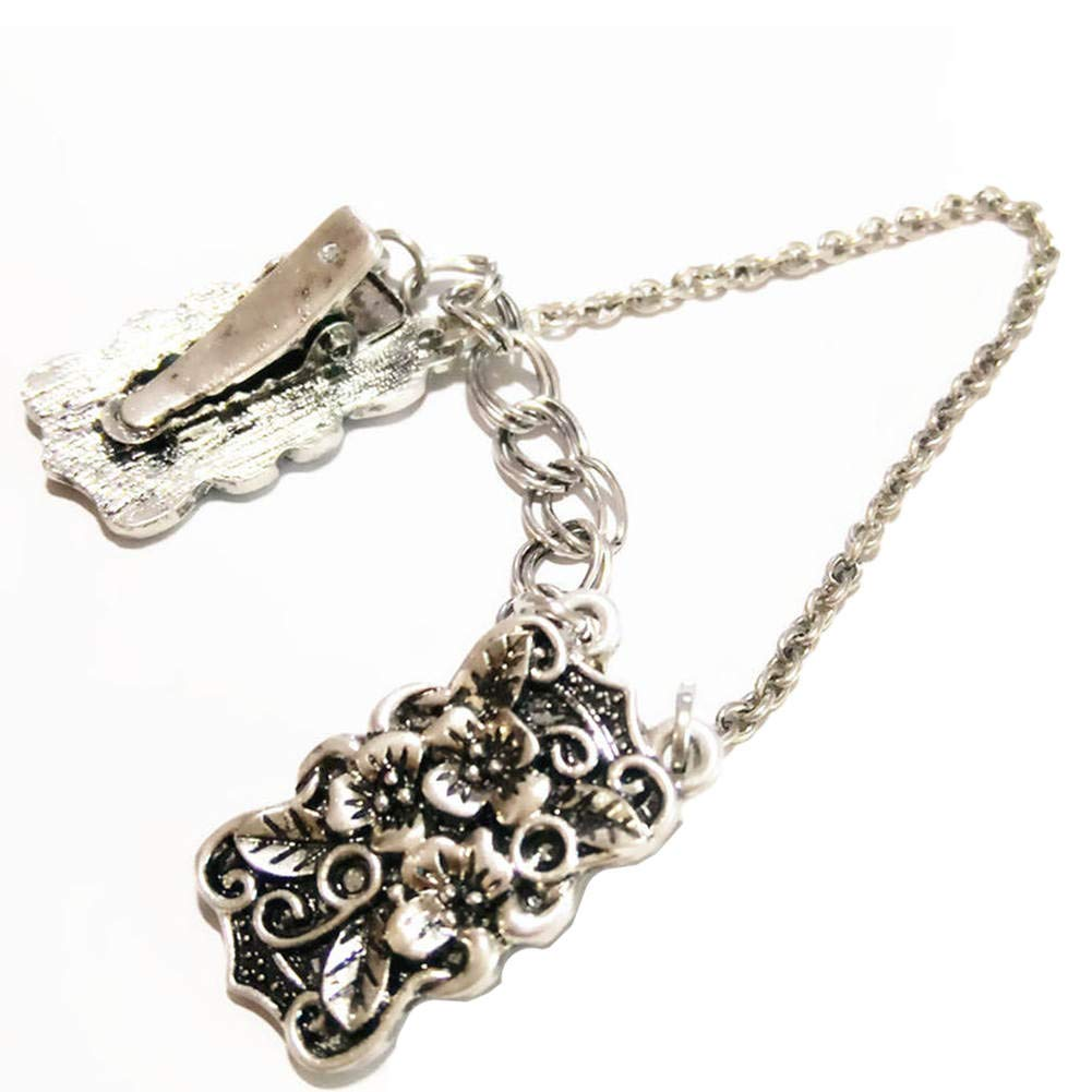 Ever Cute Antique Silver Sculpture Flower Cardigan Clip Filigree Double Chain Sweater Guard Clip Collar Pin Cinch for Clothes Dress Waist