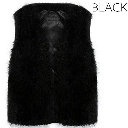 Wildeal Chaleco de Piel de otoño Invierno Mujer cálido sintética Fox Corto  para Hombre Chalecos de 1fd3a3d92a4b