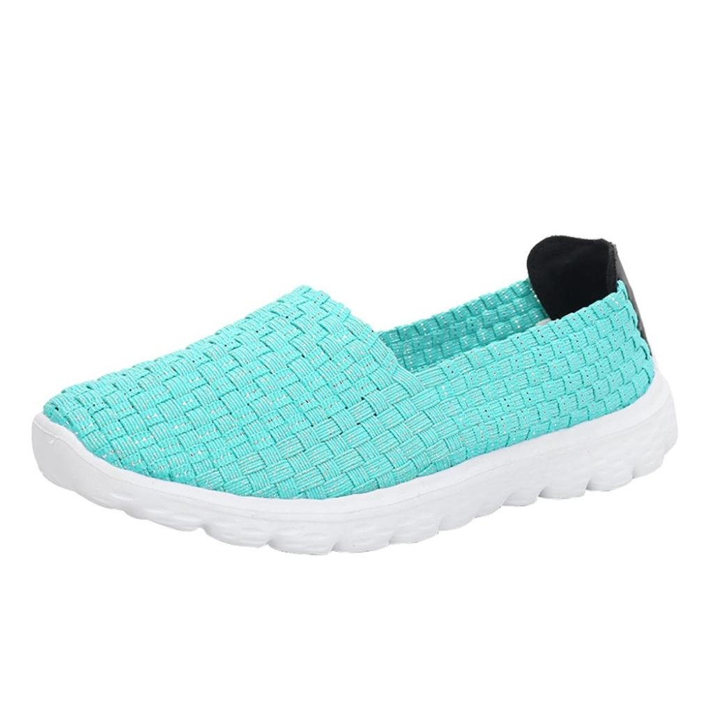 AIMTOPPY Fashion Women Casual Sports Shoes Woven Breathable Flat Sandals Beach Shoes (US:7, Mint Green)