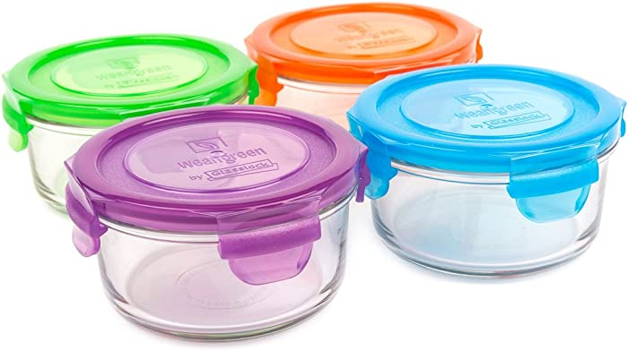 Wean Green Glass Food Storage Containers, Lunch Bowl 12 ounces, Garden Pack (4 pack)