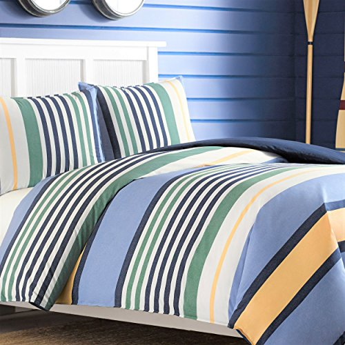 Nautica 209772 Dover Duvet Cover Set, Full/Queen,Blue