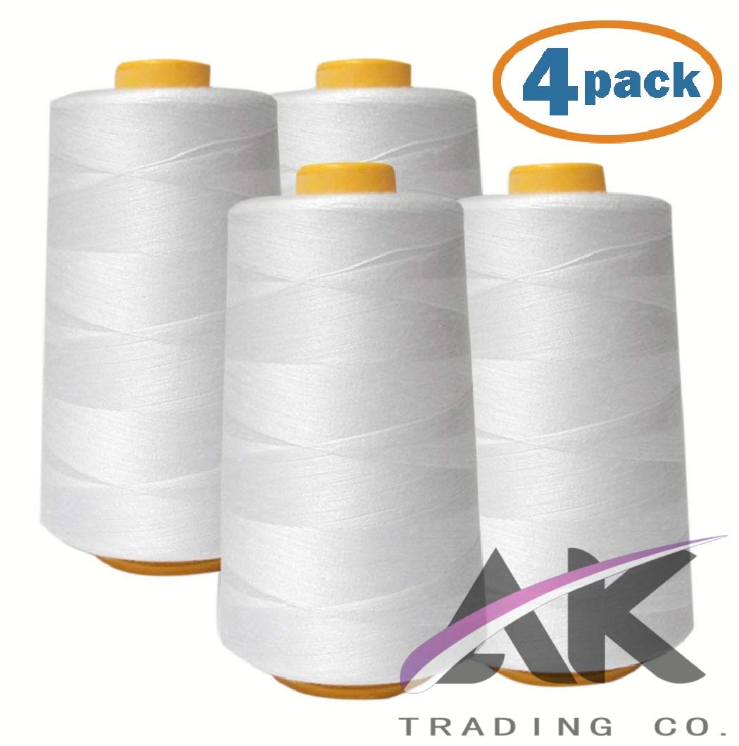 AK Trading 4-Pack White All Purpose Sewing Thread Cones (6000 Yards Each) of High Tensile Polyester Thread Spools for Sewing, Serger Machines, Quilting, Overlock, Merrow and Hand Embroidery by AK TRADING CO.