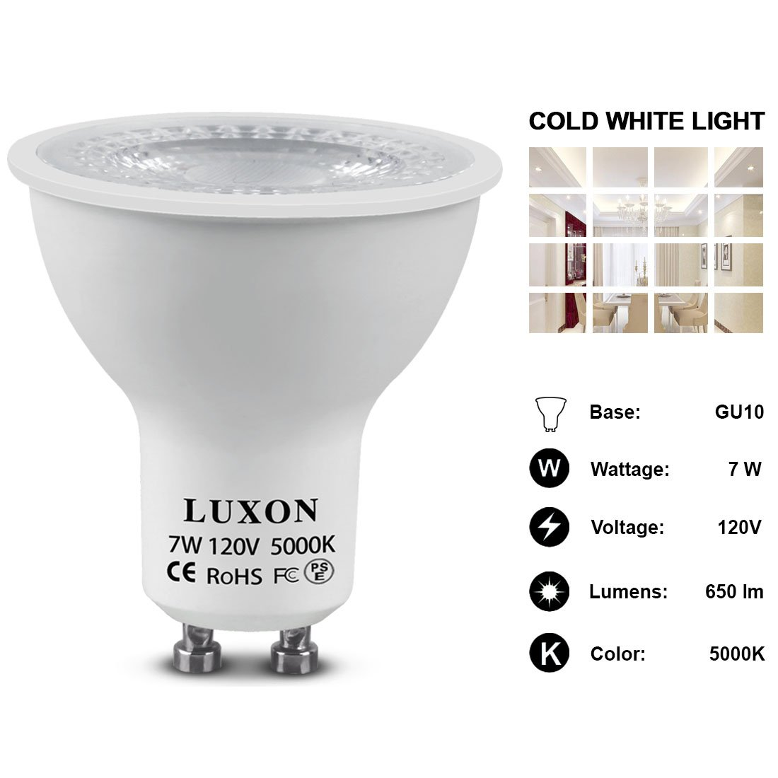 GU10 LED Light Bulbs 60W Equivalent Halogen Light Bulbs Cold White 5000K Spotlight Light Recessed Indoor Lights Pack of 6 by LUXON
