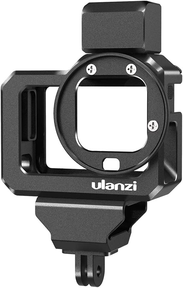 Ulanzi G8-5 Aluminum Video Cage for GoPro 8, Dual Cold Shoe Mount Vlog Case Housing Shell Protective Frame Mount w 52mm Filter Adapter Charging Interface for GoPro Hero 8 Black