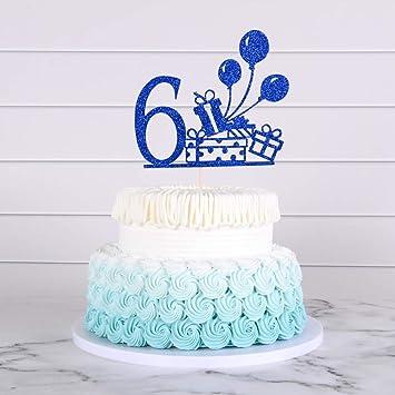 Phenomenal 6Th Birthday Cake Topper Happy Birthday Cake Topper With Blue Personalised Birthday Cards Veneteletsinfo