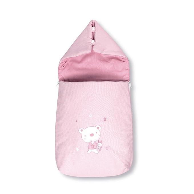 Pirulos 37013014 - Saco recién nacido, diseño osito star, algodón, 38 x 75 x 5 cm, color blanco y rosa