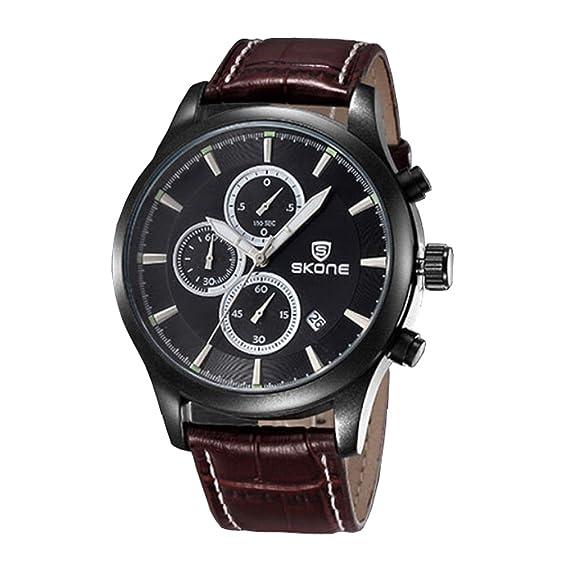Skone® 3 diales para hombre Negocios Vestido reloj banda de piel auténtica con diseño de