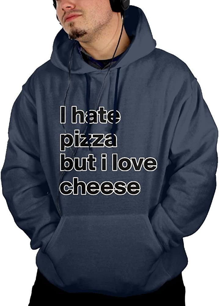 JIN YONG I Hate Pizza Men Cotton Long Sleeved Pullover Kangaroo Pocket Hoodies Hooded Sweatshirt Graphic Hoodie